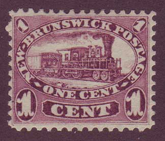 NB06.12PE      New Brunswick # 6 VF MH, Cents Issue 1860.