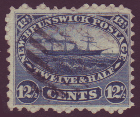 NB105      New Brunswick # 10 F used, 12½¢ steam ship 1860