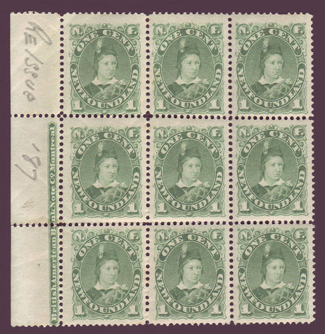 NF045x91 Newfoundland       # 45 VF MNH**      Block of 9 + partial inscription      (slight perf separation in selvege)      Prince of Wales 1896
