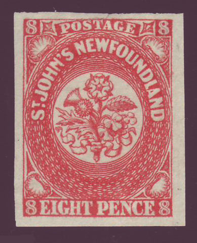 Newfoundland classic stamp, 8d vermillion, Heraldic Flowers from 1857,       vermillion