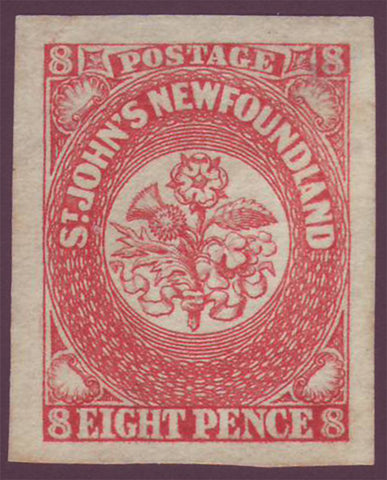 NF0082 Newfoundland # 8 VF NG Scarlet Vermillion.  First Pence Issue -1857