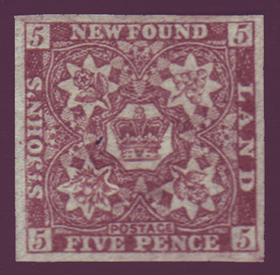 NF019b2.1 Newfoundland       # 19b VF NG (no gum)               chocolate brown.      1861 - third pence issue