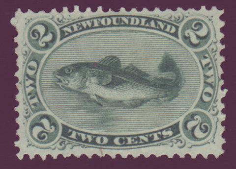 Nfld stamp 1865 showing cod fish green.