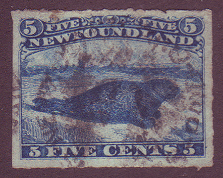 NF0402GH Newfoundland       # 40 VF Used rouletted      Harp seal 1876