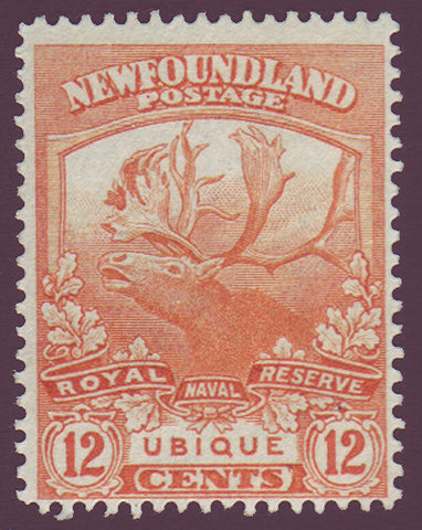 NF1232 Newfoundland # 123 F-VF MH, Trail of the Cariboo Issue 1919                                                             1911
