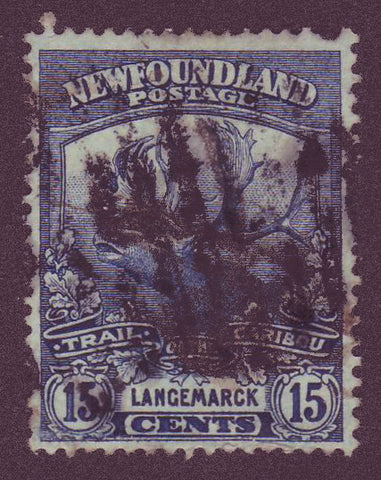 NF1245 Newfoundland # 124 F Used, Trail of the Cariboo Issue 1919                                                             1911