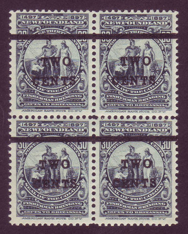 NF127x4 Newfoundland # 127 VF MNH** block of 4, Colony Seal Surcharged 1920                                   1911