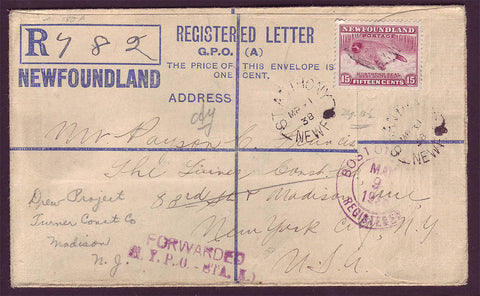 NF5005 Newfoundland Registered letter to USA