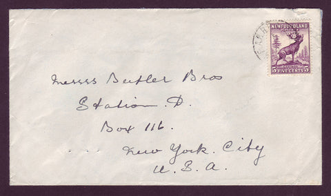 NF5007 Newfoundland Cover to USA, R.P.O. Cancel ca.1942