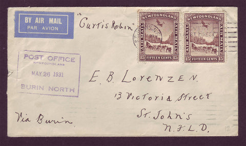 1931 Letter franked with 2 air mail stamps picturing A dog sled and an airplane flying overhead..