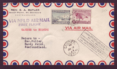 NF5009 Newfoundland First Flight Cover to Europe 1946