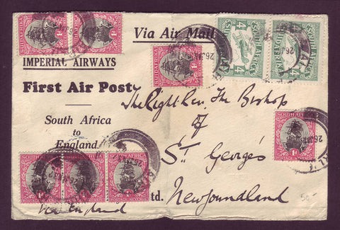 NF5014 First Air Post South Africa to Newfoundland via England 1932