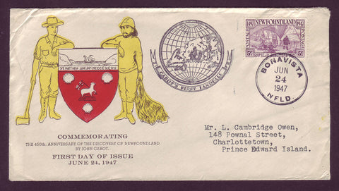 NF5017 Newfoundland First Day Cover # 270, John Cabot Anniversary 1947