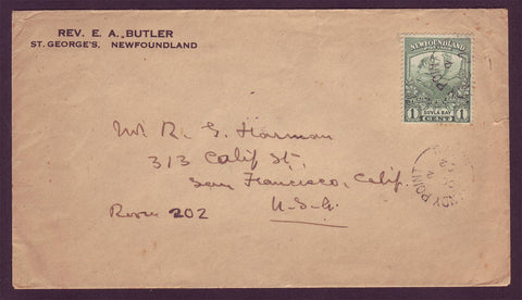 NF5018 Newfoundland Letter to the USA 1922