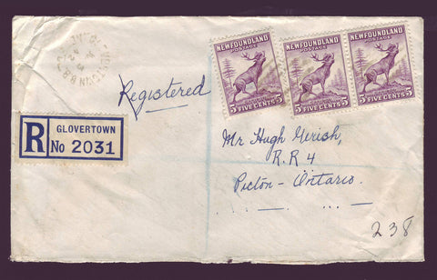 NF5019PH Newfoundland Registered Cover to Ontario, Canada 1948