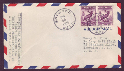 NF5021 Newfoundland First Flight Cover to New Brunswick 1939