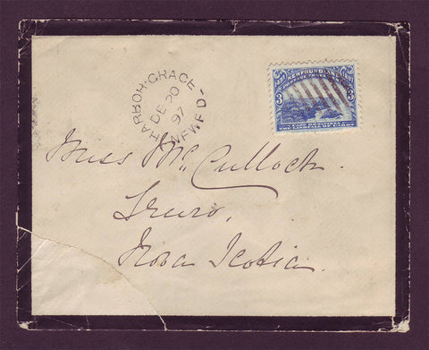 NF5030 Newfoundland Mourning Cover to Nova Scotia 1897