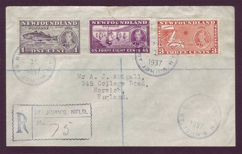 NF5034 Newfoundland Registered Letter to England - 1937