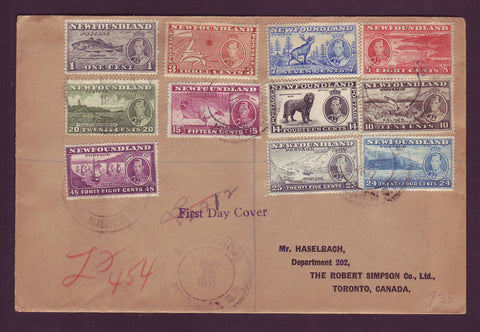 NF5035 Newfoundland Registered First Day Cover, Coronation Issue 1937