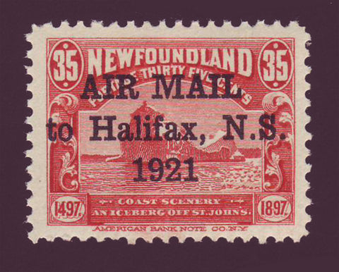 Newfoundland stamp in red showing giant iceberg floating. Overprinted ''AIR MAIL 1921''. 1921''