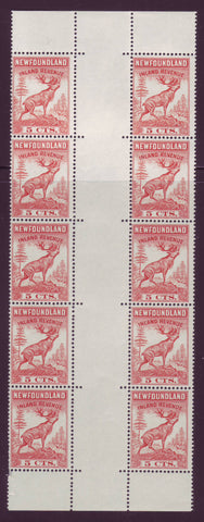 NFR46a Inland Revenue 5¢ Red Cariboo, Gutter Pane of 10 MNH**, 1966