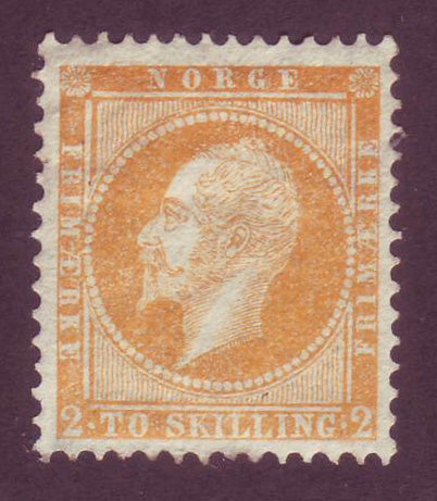 NO0002 Norway Scott # 2 King Oscar I, VF MH - 1857