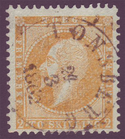 NO00025 Norway Scott # 2 F-VF, Oscar I - 1856