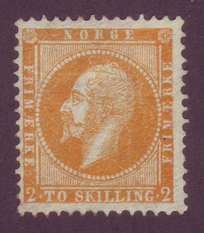 NO0002 Norway Scott # 2 King Oscar I, F-VF NG - 1857
