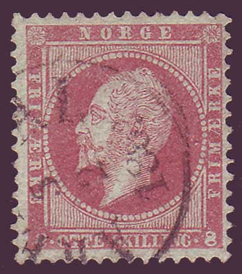 NO00055 Norway Scott # 5 F-VF, Oscar I - 1856