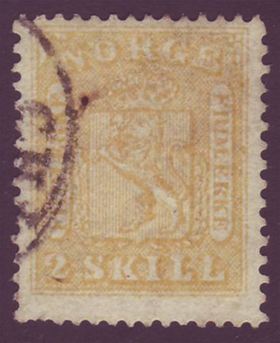 NO00065 Norway Scott # 6 F-VF, Coat of Arms - 1863