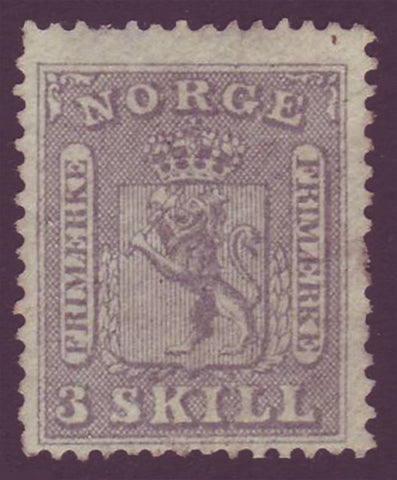 NO00075 Norway Scott # 7 MH OG - Coat of Arms 1863