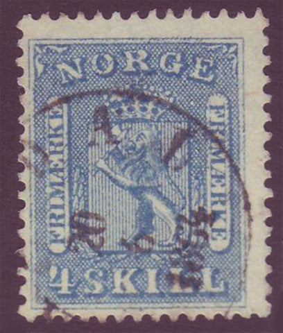 NO00085 Norway Scott # 8 Used, - Coat of Arms 1863
