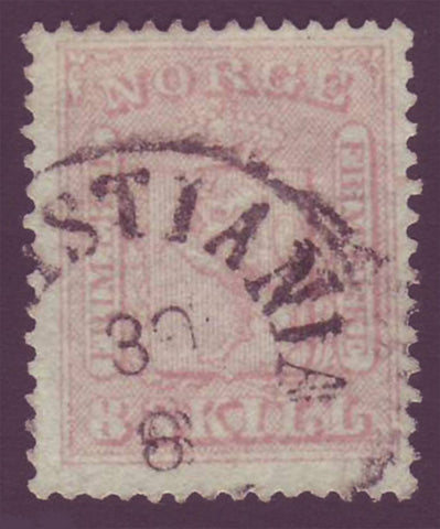 NO00095 Norway Scott # 9 used, - Coat of Arms 1863