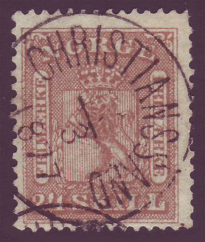 NO0010.15 Norway Scott # 10 used, - Coat of Arms 1863
