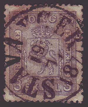 NO0013.15 Norway Scott # 13 VF used - Coat of Arms 1867