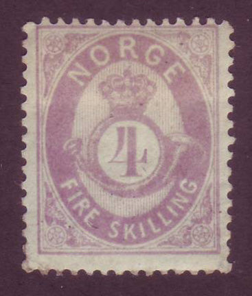 NO00192 Norway Scott # 19, 4sk Posthorn, F-VF MH - 1875