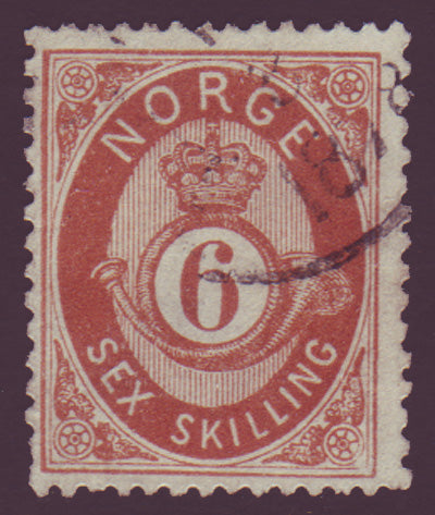 NO0020.15 Norway Scott # 20 used  - Posthorn 1872-75