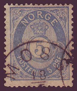 NO0024a5 Norway Scott # 24a  used - Posthorn 1877-78
