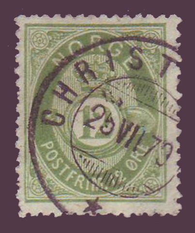 NO00265PE Norway Scott # 26  VF used - Posthorn 1877-78