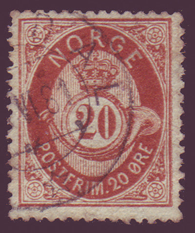 NO0027 Norway Scott # 27  VF used - Posthorn 1877-78