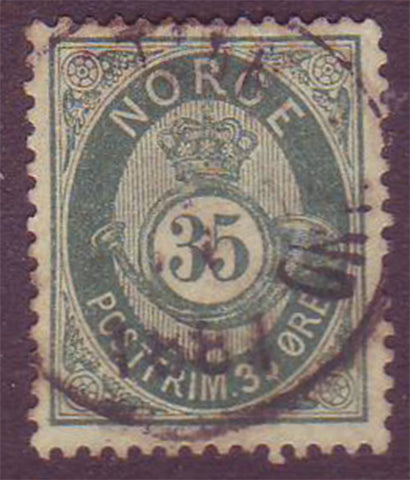 NO0029 Norway Scott # 29  VF used - Posthorn 1877-78