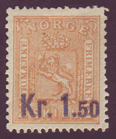 NO00602PH Norway Scott # 60  VF MH, # 12 surcharged 1905