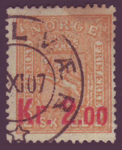 NO00615 Norway Scott # 61, #12 surcharged 1905