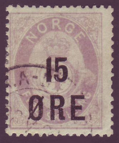 NO00625 Norway Scott # 62 used, 15o surcharge on 4sk lilac 1906
