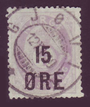 NO00625 NO00125 Norway Scott # 62, 15o overprint on 4sk Posthorn - 1906