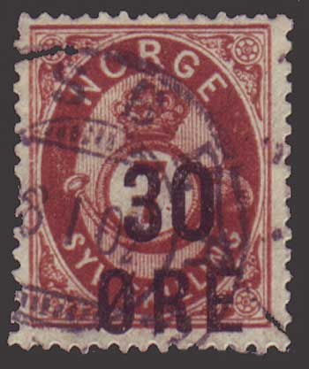 NO0063 Norway Scott # 63 used, 30o surcharge on 7sk brown