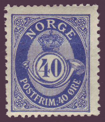 NO00932PE Norway Scott # 93 F-VF MH, Posthorn 1910-29