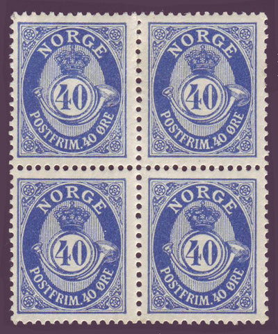NO0093x4 Norway Scott # 93 block of 4 VF MH - Posthorn 1910-29