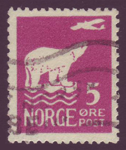 NO01065 Norway Scott # 106 VF Used - Polar Bear and Airplane