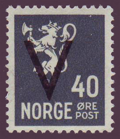 NO02172 Norway Scott # 217 VF MH - ''V'' overprint 1941